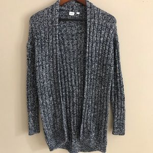 GAP Navy & White Long Open Cardigan - XS